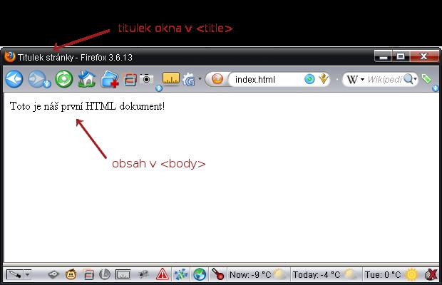 Ukázka první stránky v HTML