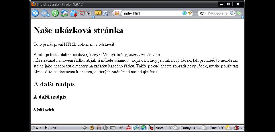 Zobrazení formátování textu v prohlížeči
