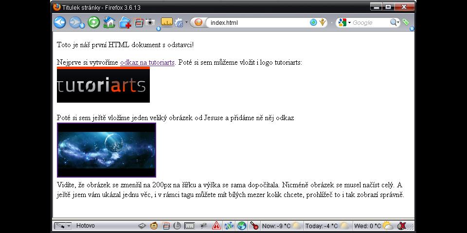 HTML - zobrazení obrázků a odkazů
