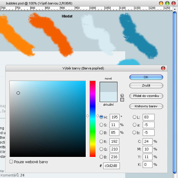 Výběr barvy pozadí