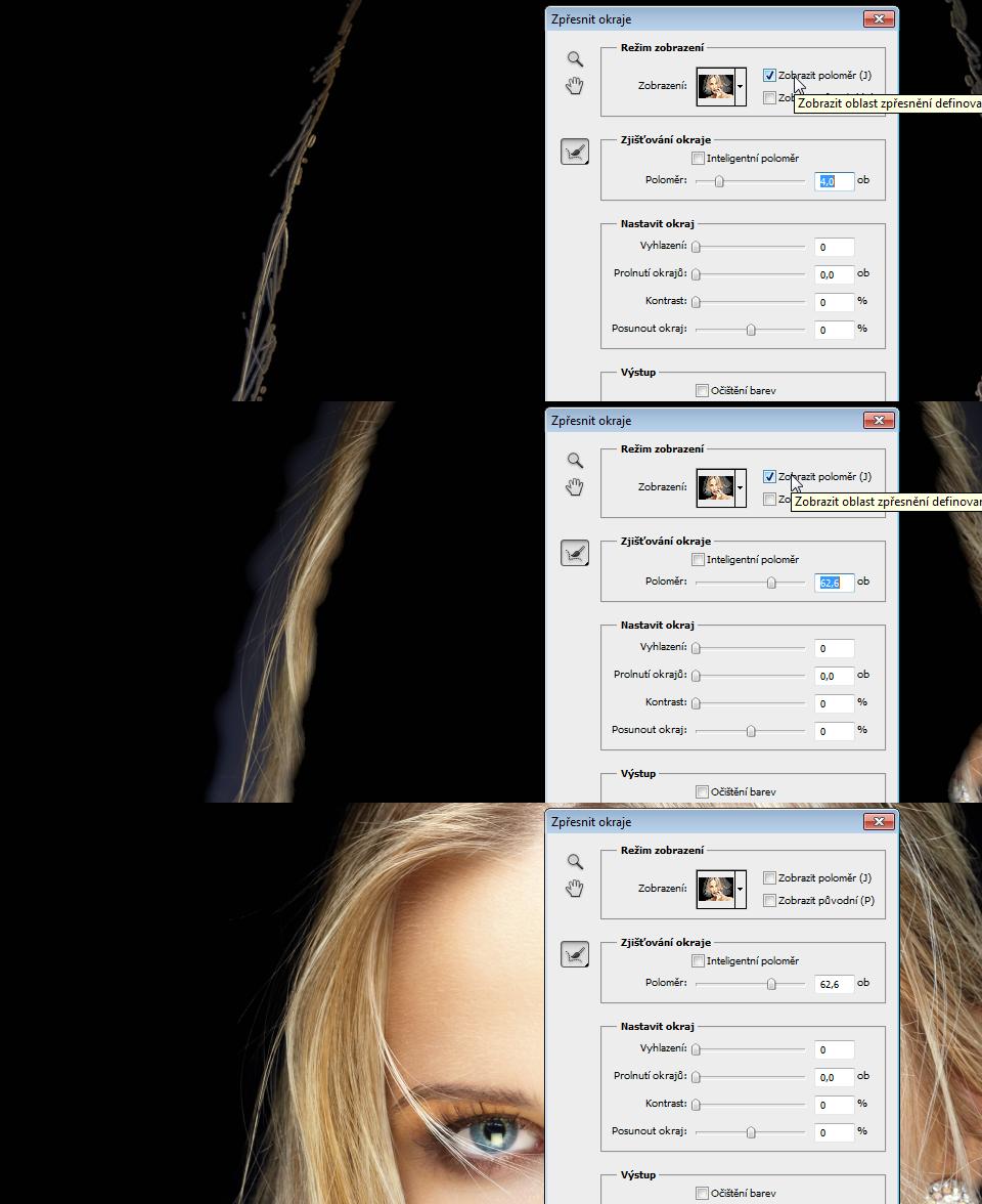 photoshop výběr vlasů